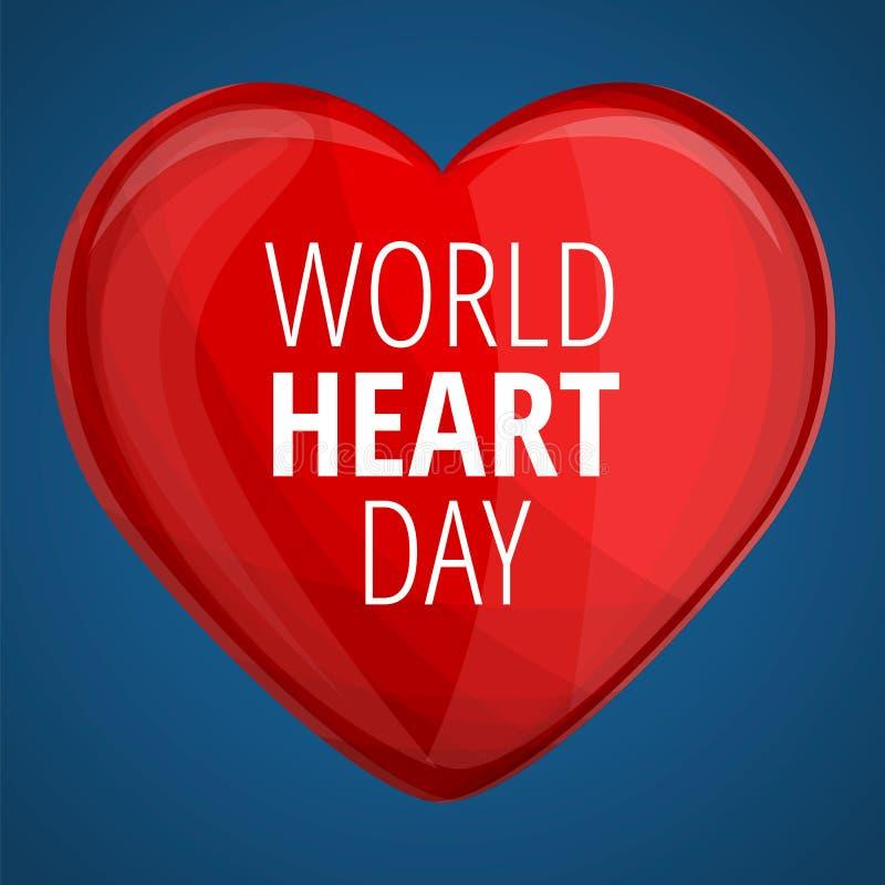 För hjärtadag för värld rött baner för begrepp, tecknad filmstil royaltyfri illustrationer