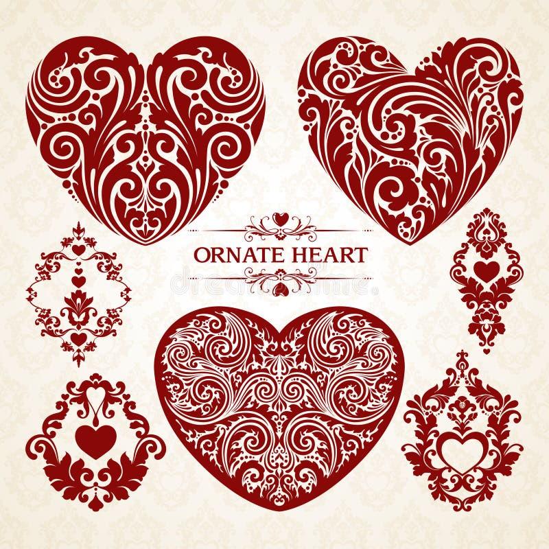 För hjärtadesign för vektor fastställd dekorativ dekorativ beståndsdel vektor illustrationer