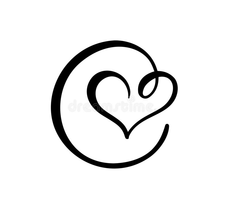 För hjärtaförälskelse för hand utdraget tecken Romantiskt symbol för symbol för kalligrafivektorillustration för t-skjortan, häls vektor illustrationer
