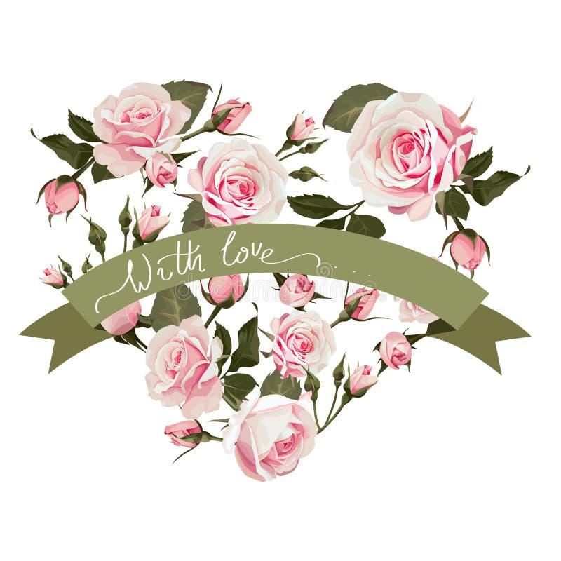 För hjärtaform för vektor blom- bakgrund med rosa blommor för st-valentindag med förälskelsehandbokstäver vektor illustrationer