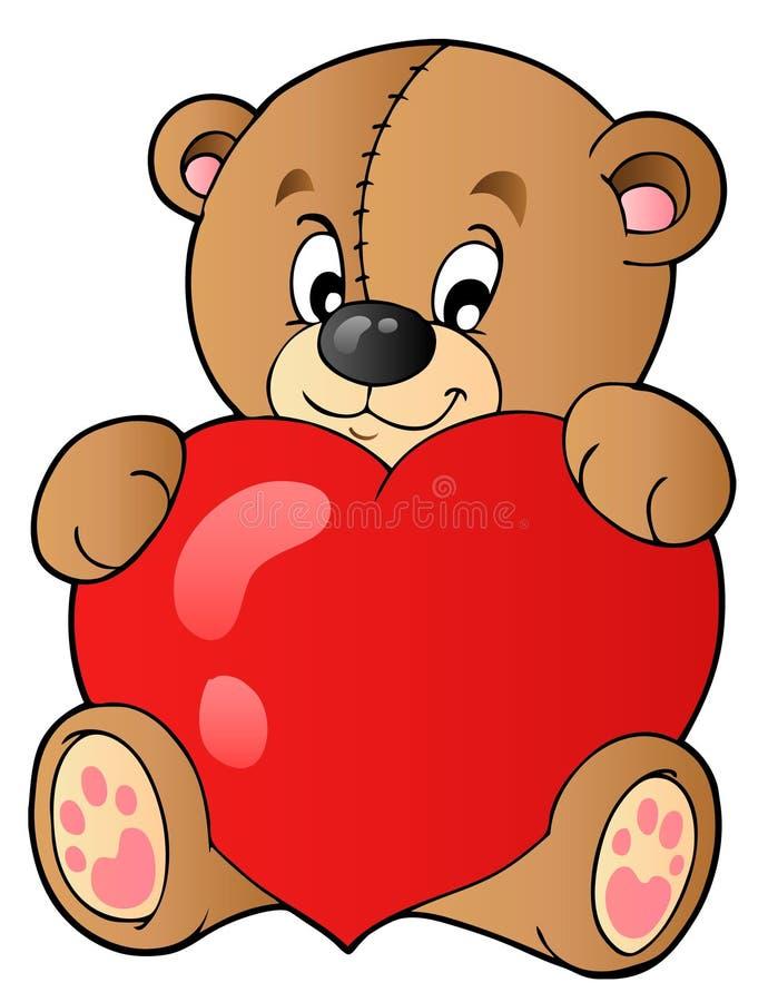 för hjärtaholding för björn gullig nalle vektor illustrationer