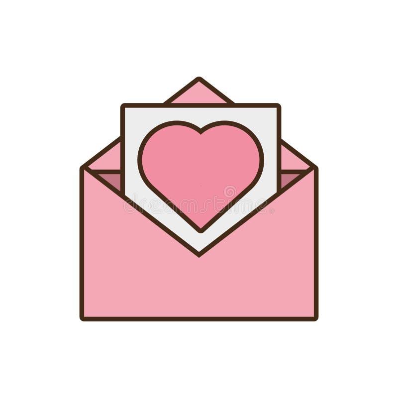 För hjärtakuvert för post pappers- symbol för rosa färger vektor illustrationer
