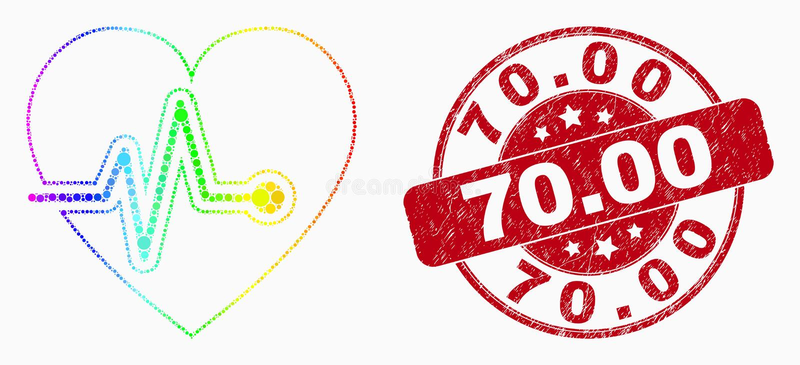 För hjärtapuls för vektor spektral- prickig symbol och nödläge 70 Stämpel 00 stock illustrationer