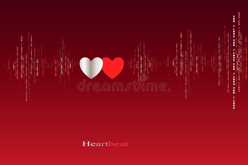 För hjärtatakter för nedgång förälskad design för kardiogram vektor illustrationer