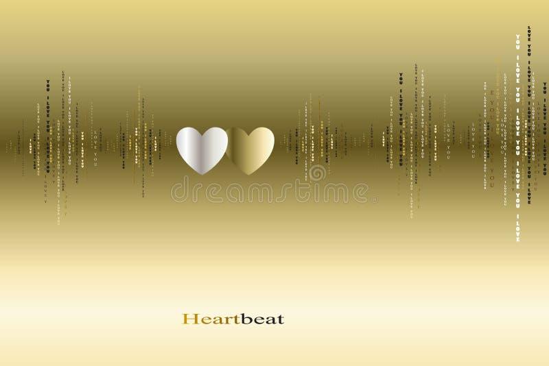 För hjärtatakter för nedgång förälskad design för kardiogram stock illustrationer