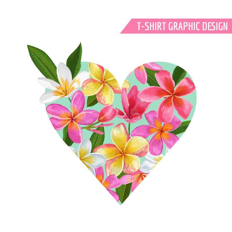 För hjärtavåren för förälskelse blommar den romantiska blom- designen för sommar med rosa Plumeria för tryck, tyg, T-tröja, affis stock illustrationer