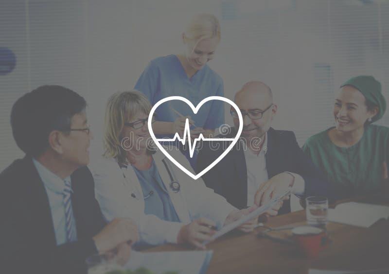 För hjärtslagpuls för doktor Meeting Corporate Healthcare begrepp arkivbild