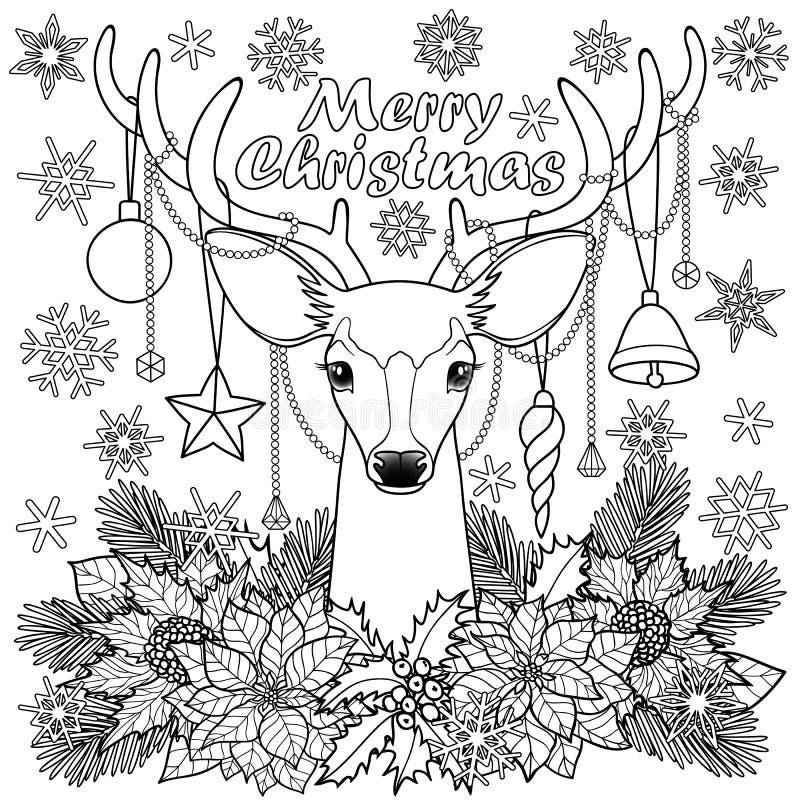 För hjortöversikt för glad jul sammansättning royaltyfri illustrationer