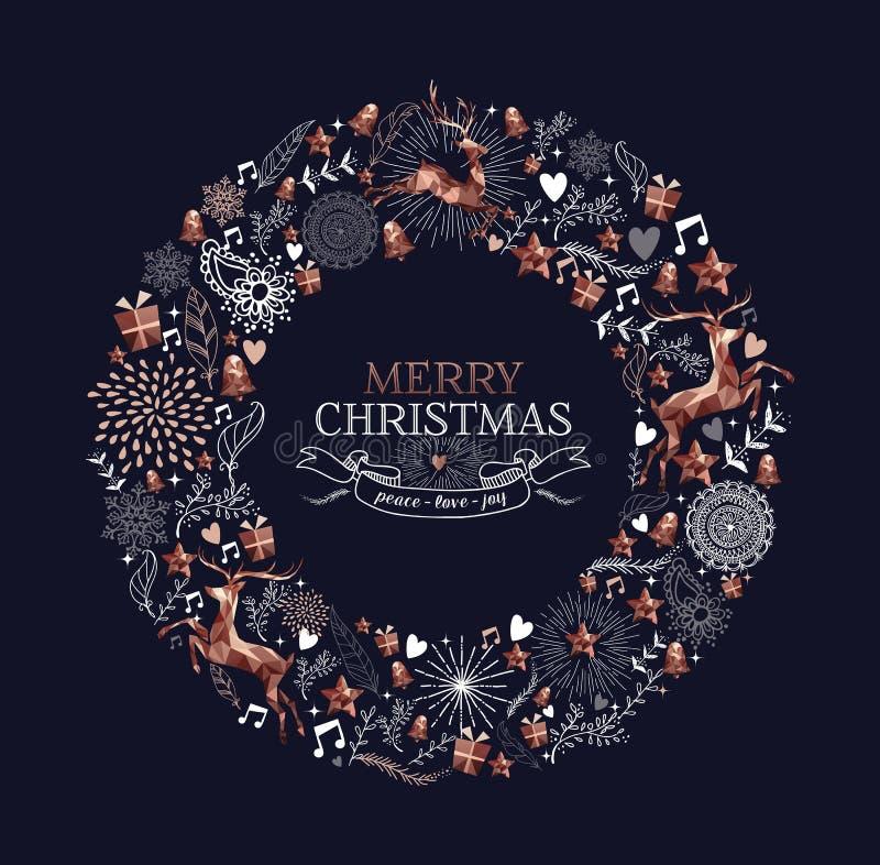 För hjortgarnering för glad jul kopparkrans vektor illustrationer