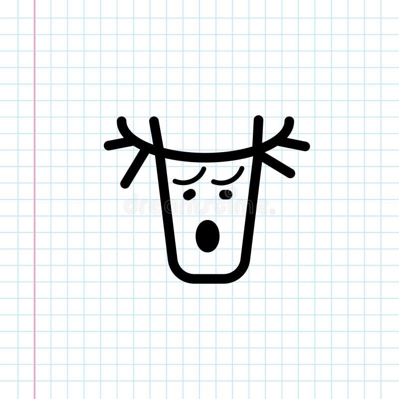 För hjorthuvud för hand utdragen symbol vektor illustrationer