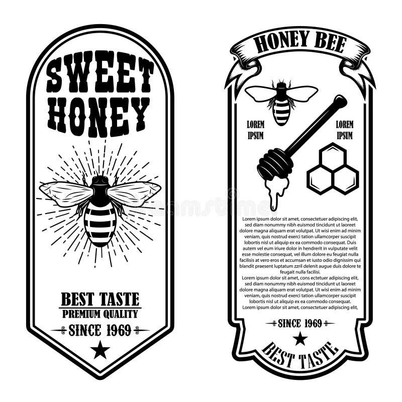 För honungreklamblad för tappning naturliga mallar Planlägg beståndsdelar för logoen, etiketten, tecknet, emblem royaltyfri illustrationer