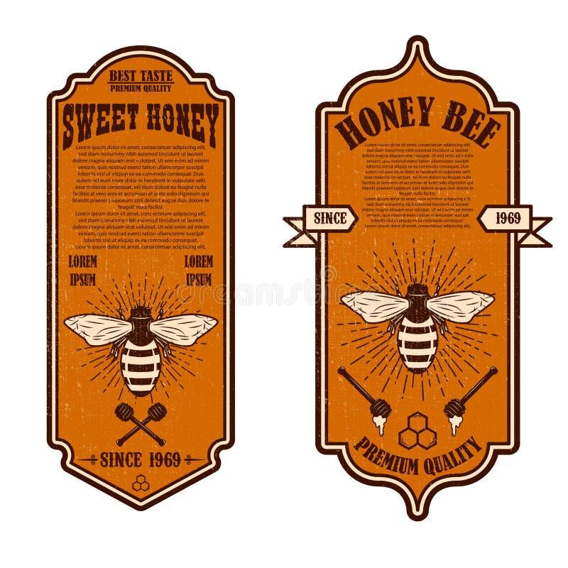 För honungreklamblad för tappning naturliga mallar Planlägg beståndsdelar för logoen, etiketten, tecknet, emblem stock illustrationer
