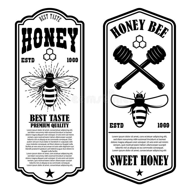 För honungreklamblad för tappning naturliga mallar Planlägg beståndsdelar för logoen, etiketten, tecknet, emblem vektor illustrationer