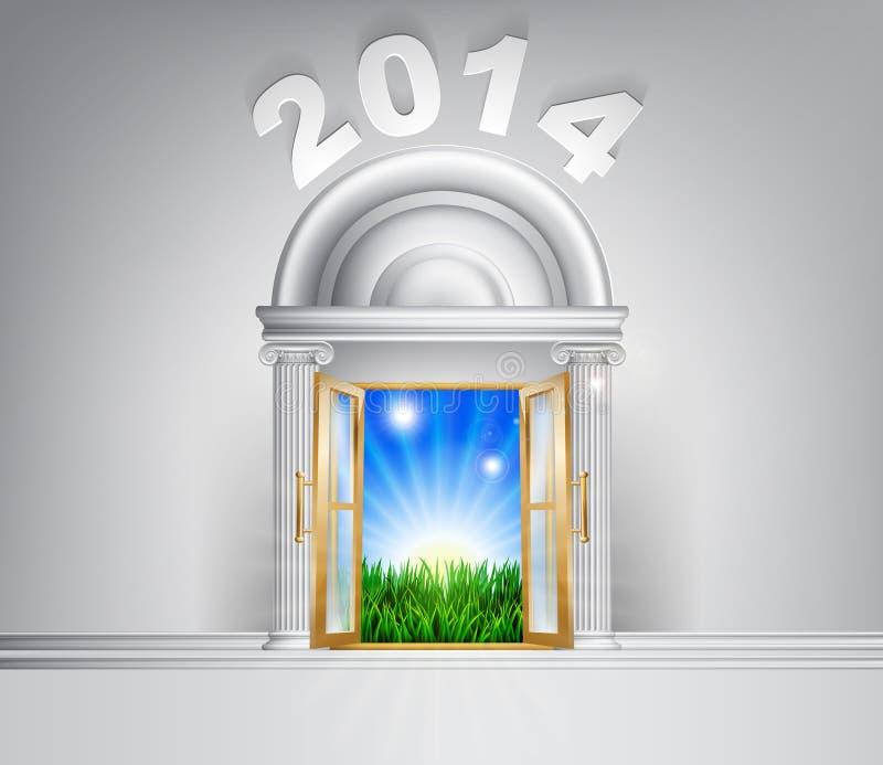 För hoppdörr för nytt år begrepp 2014 vektor illustrationer