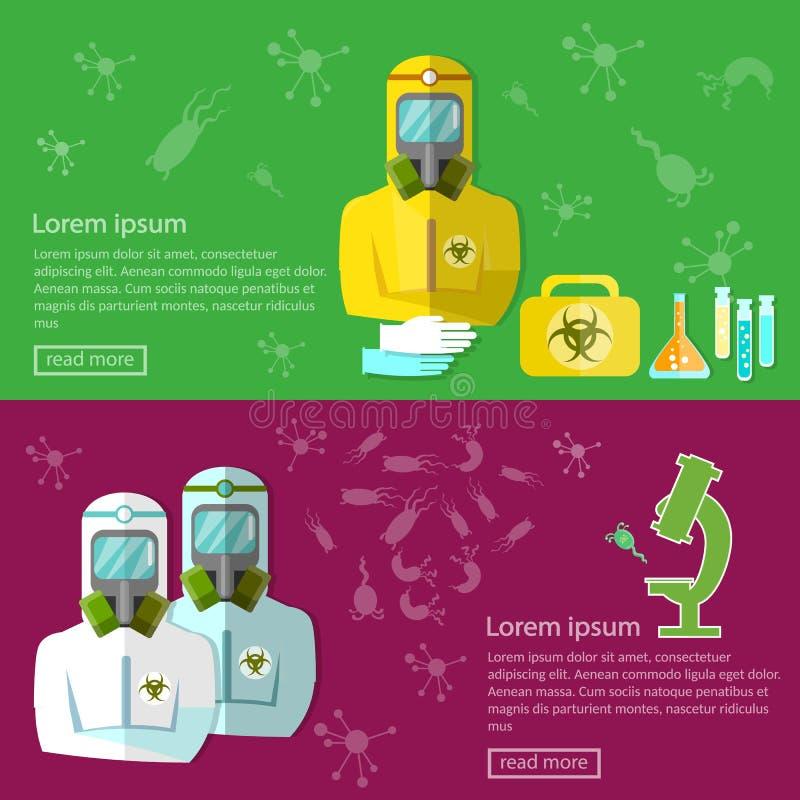 För hotbaner för Biohazard biologiskt skydd för epidemisk sjukdom royaltyfri illustrationer