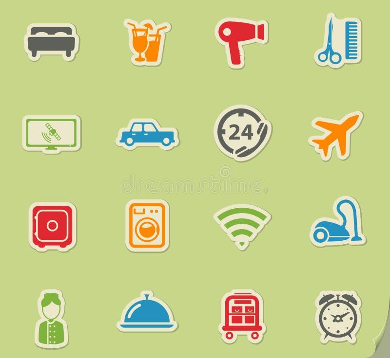 För hotell symboler enkelt stock illustrationer