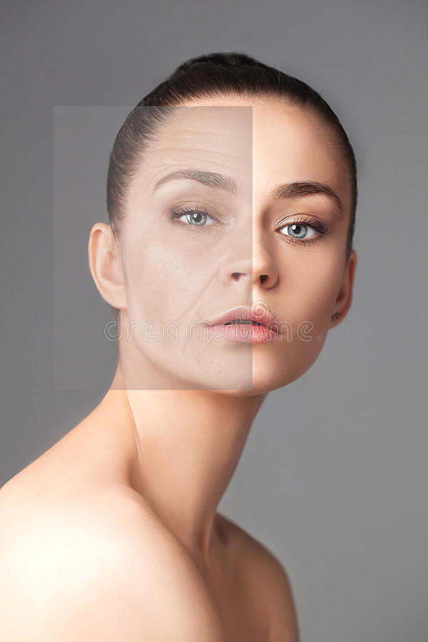 För hudskönhet för härlig kvinna ändrande begrepp arkivfoto