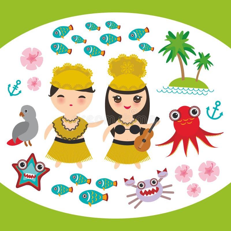 För Hula för hawaiibo för kortdesign för Kawaii dansare för Hawaii för uppsättning för flicka pojke ankare f för bläckfisk för kr stock illustrationer