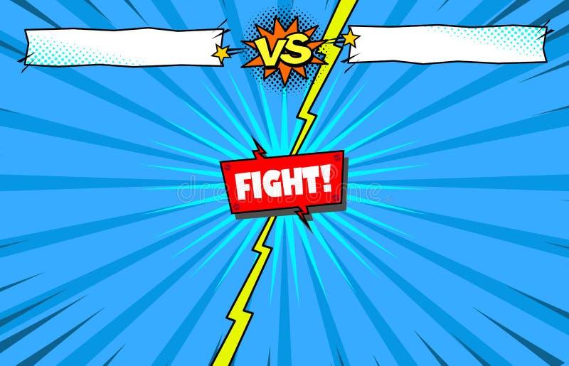 För humorbok för kampmall kontra bakgrund, superherostridintro stock illustrationer