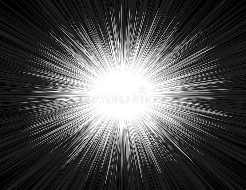 För humorbokstil för hastighet bakgrund för zoom för ljus stråle för explosion radiell royaltyfri illustrationer