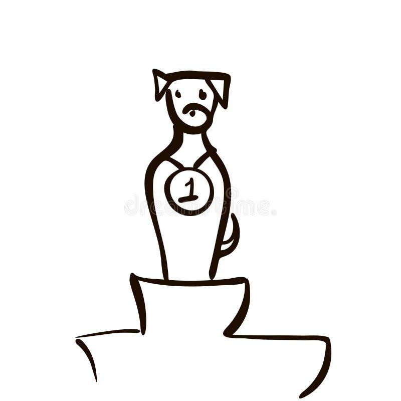 För hundhuvud för vinnare gullig linje konstteckningslogo - vektorillustration, emblemdesign på vit bakgrund stock illustrationer