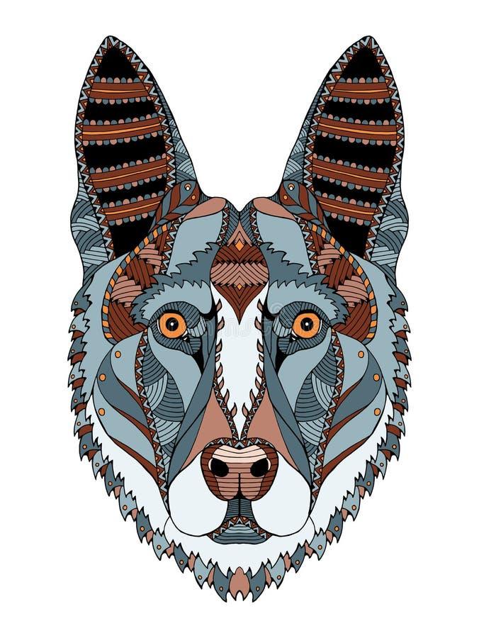 För hundhuvudet för den tyska herden zentangle stiliserade, vektorn, illustratio vektor illustrationer