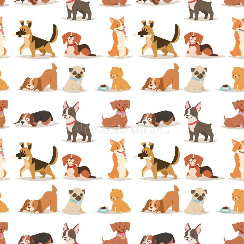 För hundkapplöpningtecken för valp gullig spela vektor för bakgrund för modell för rolig fullblods- komisk lycklig däggdjurs- ave stock illustrationer