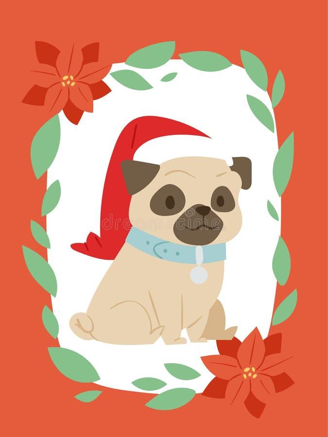 För hundkort för jul 2018 baner för rengöringsduk för design för tryck för Xmas för vovve för husdjur för hem för illustration fö royaltyfri illustrationer