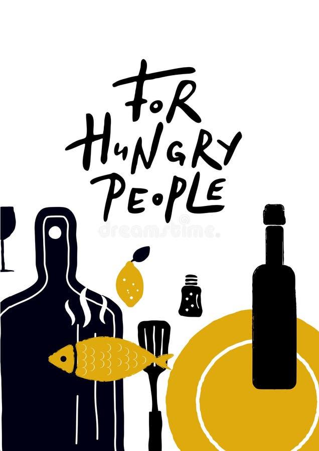 För hungrigt folk stock illustrationer