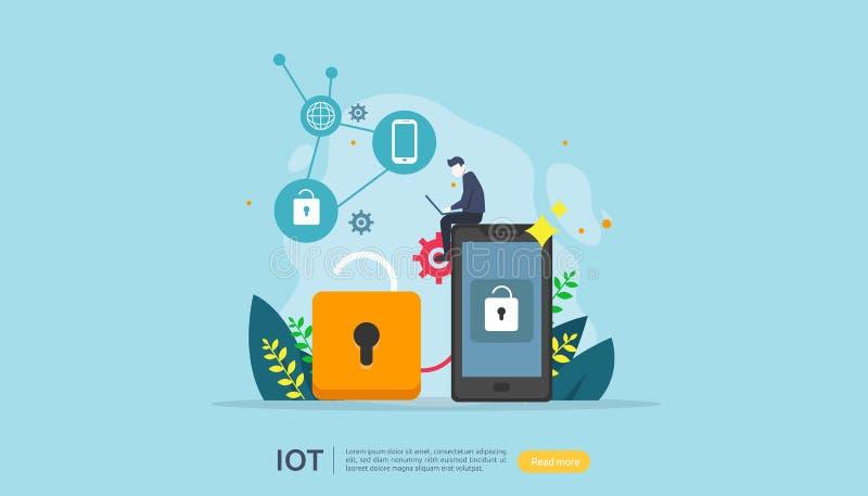 För husövervakning för IOT smart begrepp för industriella 4 hem- avlägsen låsteknologi på smartphoneskärmappen av internet av sak royaltyfri illustrationer