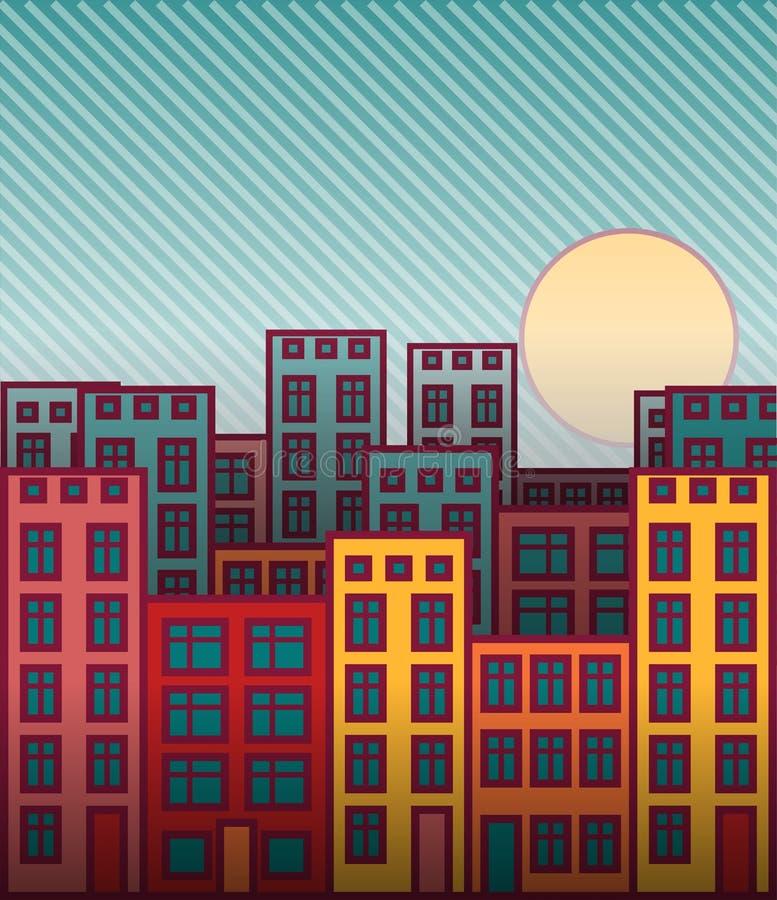 För huscityscape för tecknad film färgrik solnedgång royaltyfri illustrationer