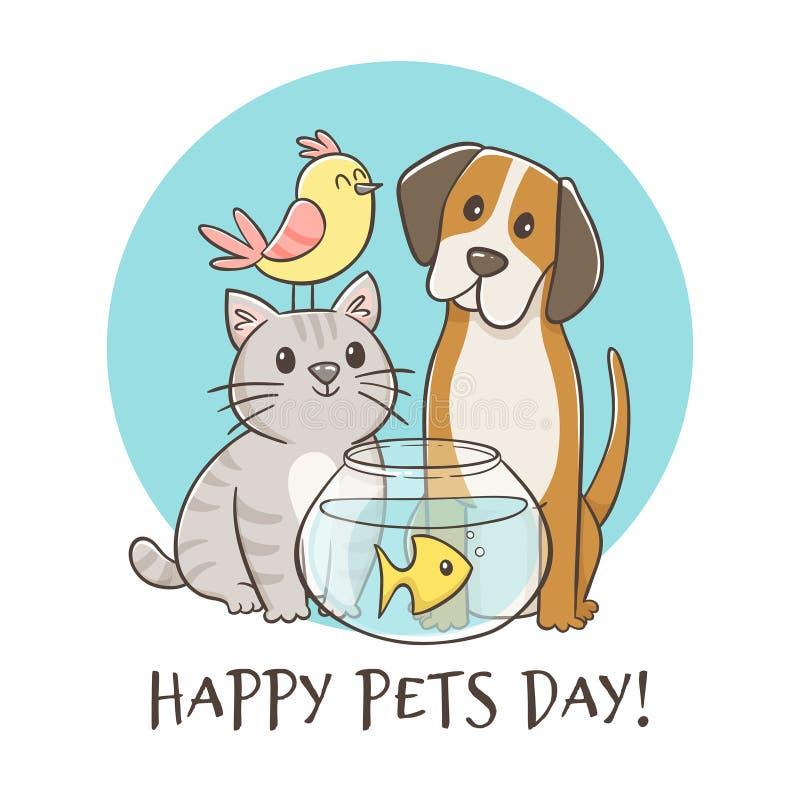 För husdjurdag för hand utdraget lyckligt kort stock illustrationer