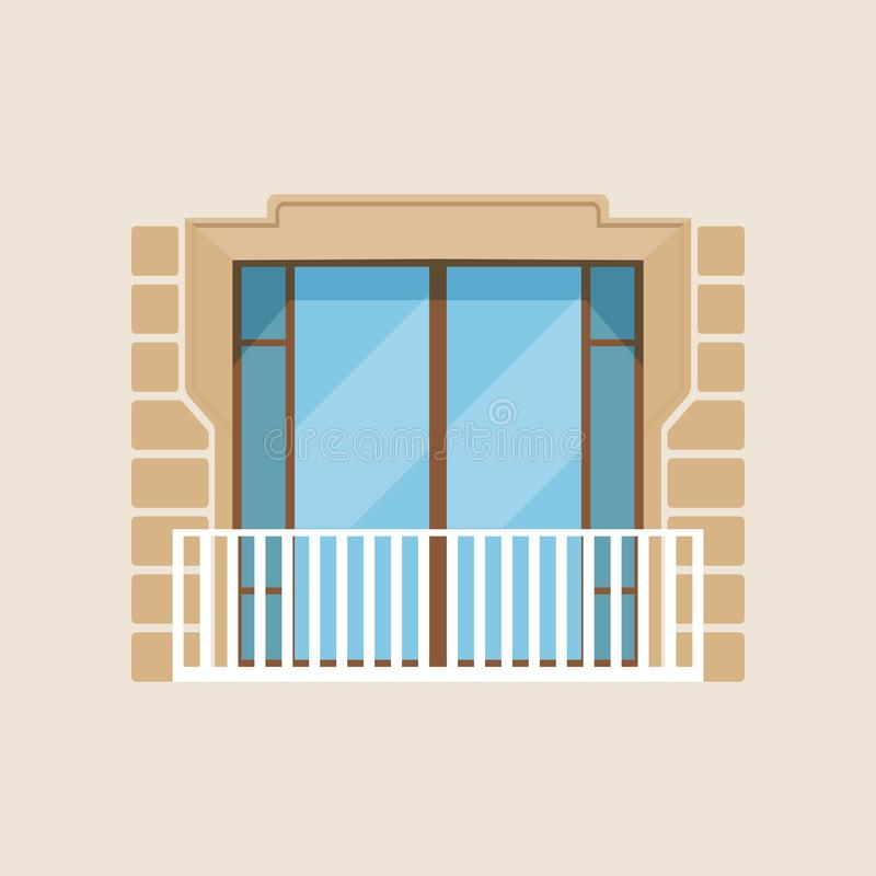 För husfasad för modern balkong klassisk illustration för vektor stock illustrationer