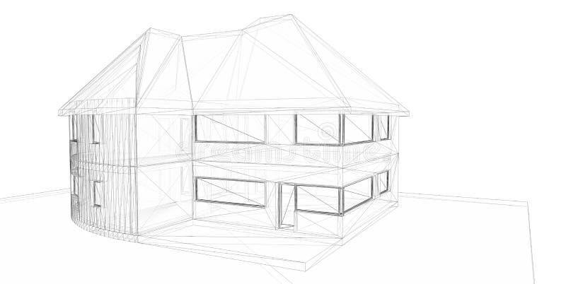 för husframförande för backgroun 3d white stock illustrationer