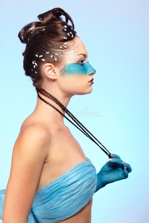 för huvuddelfantasi för konst blå flicka s arkivbilder