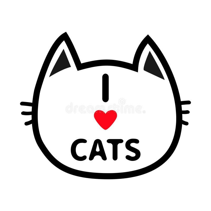 För huvudframsida för svart katt symbol för kontur för kontur Linje pictogram Gulligt roligt tecknad filmtecken Jag älskar bokstä stock illustrationer