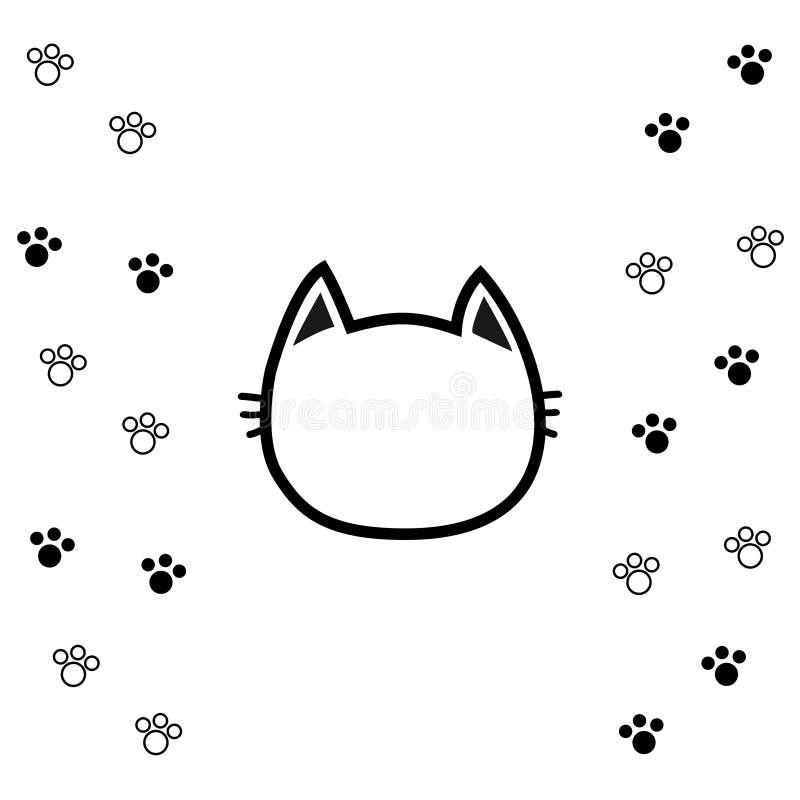 För huvudframsida för svart katt symbol för kontur för kontur Linje pictogram Tom temlate Tafsa tryckspåret Gulligt roligt teckna stock illustrationer