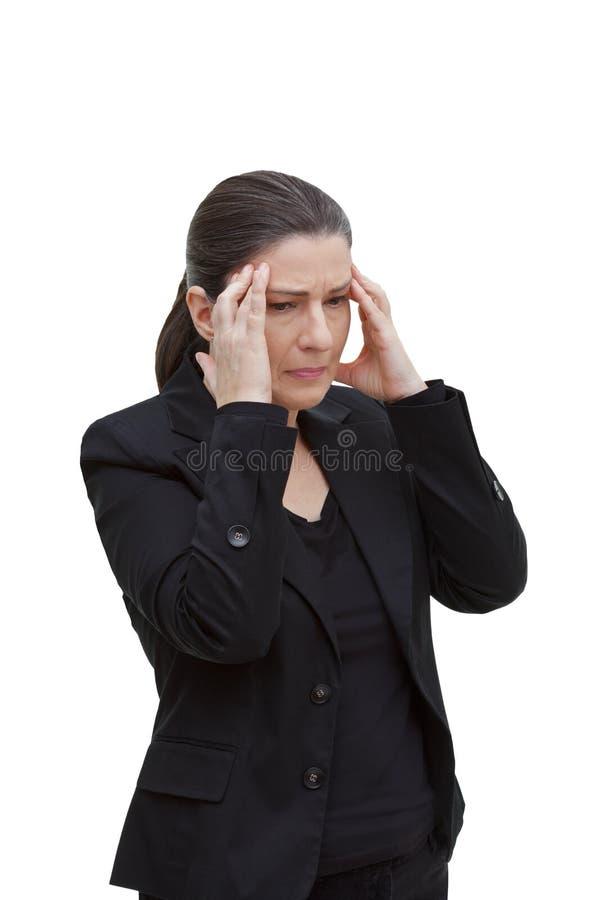 För huvudvärkmigrän för kvinna akut attack arkivbild
