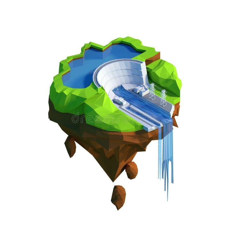 För hydroelectricitykraftverk för isometrisk sikt lågt poly begrepp stock illustrationer