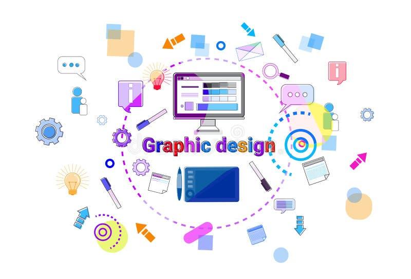 För idébegrepp för grafisk design som utveckling för rengöringsduk för process idérik programmerar banret vektor illustrationer