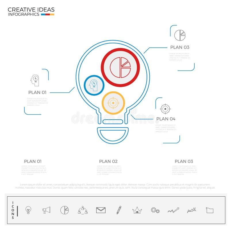 För idéinfographics för ljus kula mall med symboler och beståndsdelar idérikt begrepp royaltyfri illustrationer