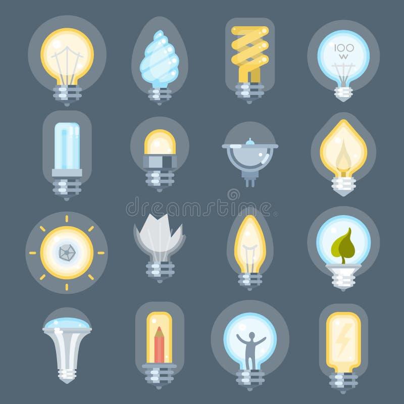 För idélogo för ljus kula illustration för vektor för innovation för symbol för lightbulb för elektricitet för begrepp för makt f stock illustrationer