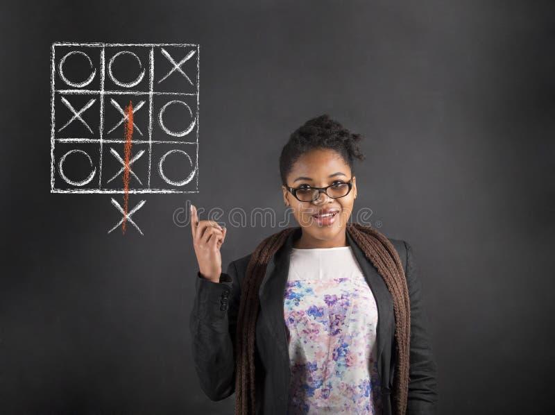 För idémuskelryckning för afrikansk kvinna bra tå för tac på svart tavlabakgrund arkivfoto