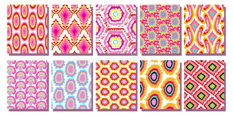 För Ikat för fastställd sömlös modell rosa geometrisk modell bakgrund vektor illustrationer