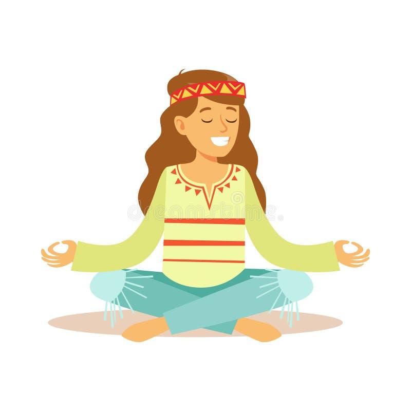 För iklädda klassiska kläder för subkultur Woodstock för flickahippie som sextio Hippy mediterar i Lotus Pose stock illustrationer