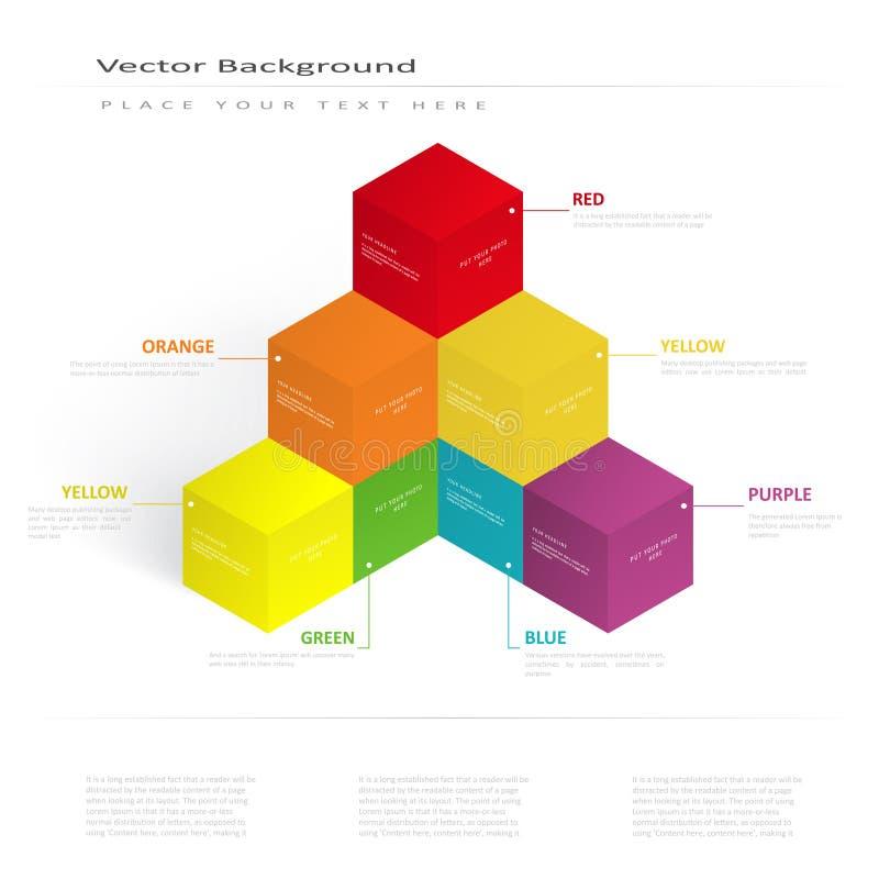 För illustrationfärg för vektor 3d kuber royaltyfri illustrationer