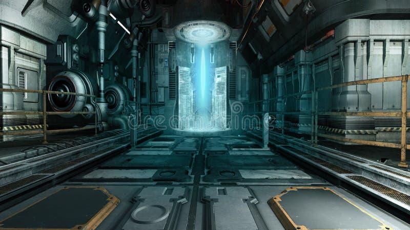 för illustrationinterior för tecknad film rolig spaceship royaltyfri illustrationer