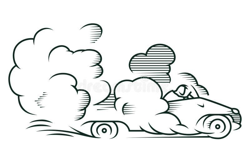 för illustrationorange för bakgrund ljust materiel Automatisk som rider snabbt i ett moln av damm royaltyfri illustrationer