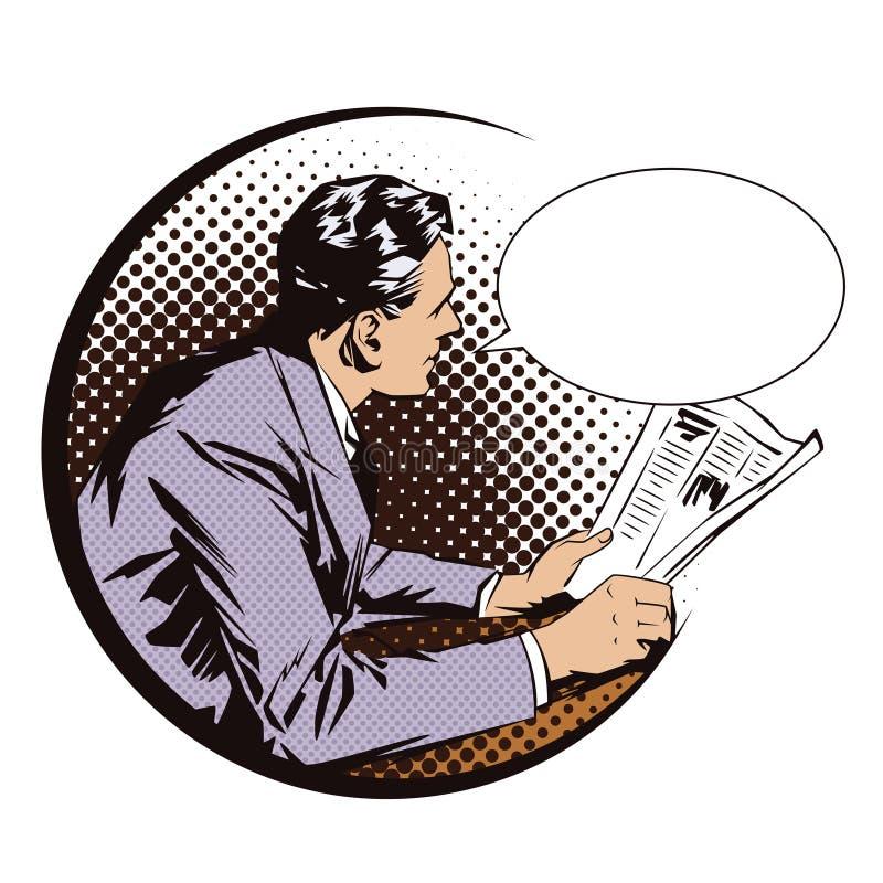 för illustrationorange för bakgrund ljust materiel Folk i retro stilpopkonst och tappningadvertizing Män med tidningen vektor för stock illustrationer