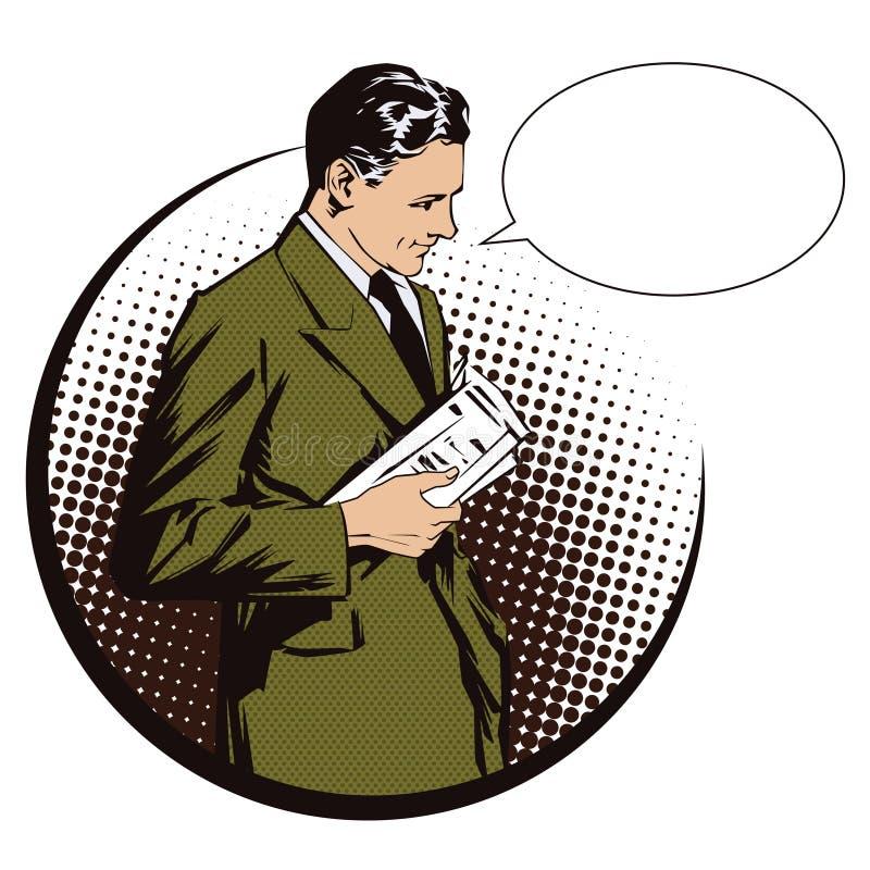 för illustrationorange för bakgrund ljust materiel Folk i retro stilpopkonst och tappningadvertizing Män med tidningen vektor för vektor illustrationer